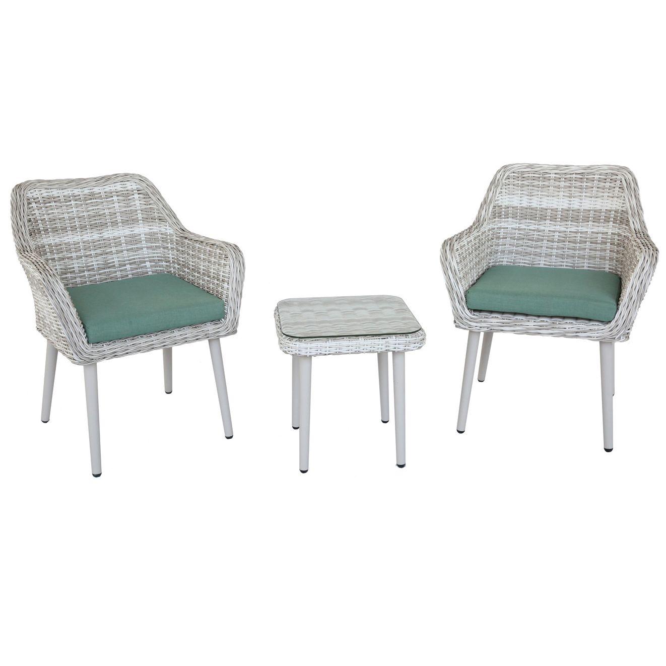 Set mobilier gradina/terasa Kring Nisa, masa + 2 fotolii, Bej/Verde